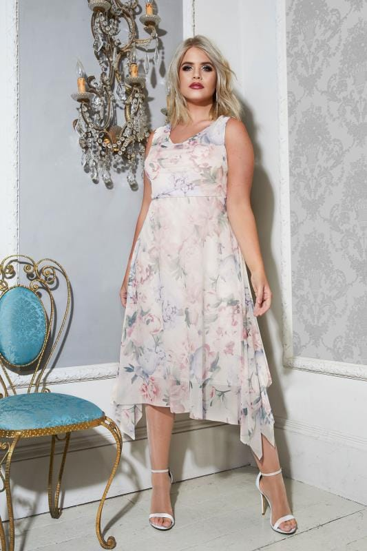 YOURS LONDON Ivory & Pastel Floral Midi Dress With Cowl Neck