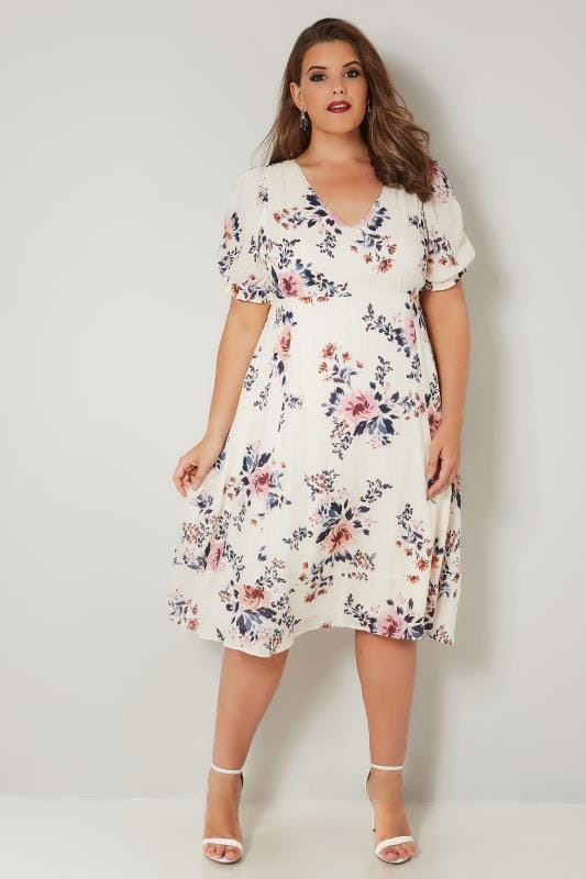 YOURS LONDON Ivory Floral Tea Dress