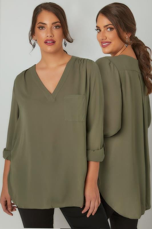 YOURS LONDON Khaki V-Neck Blouse With Roll Up Sleeves & Pocket Detail