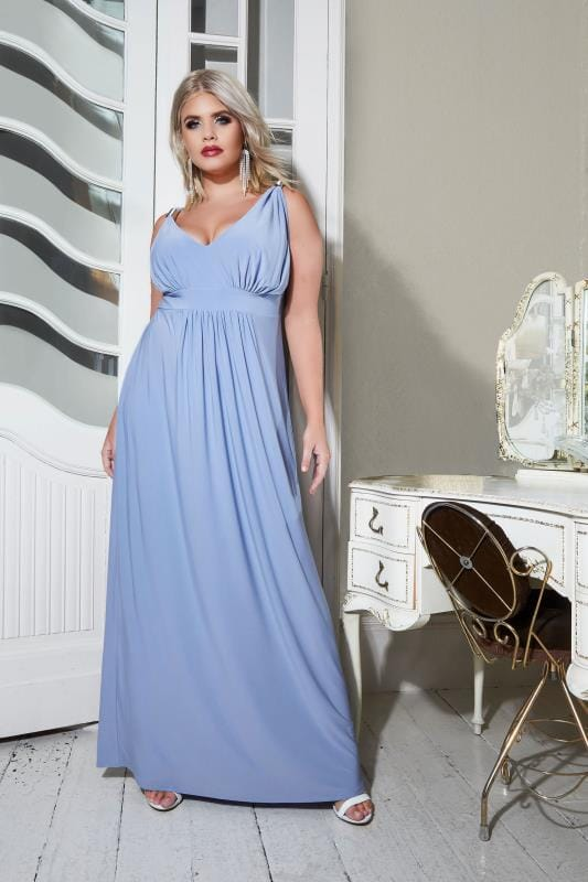 YOURS LONDON Light Blue Spring Detail Jersey Maxi Dress