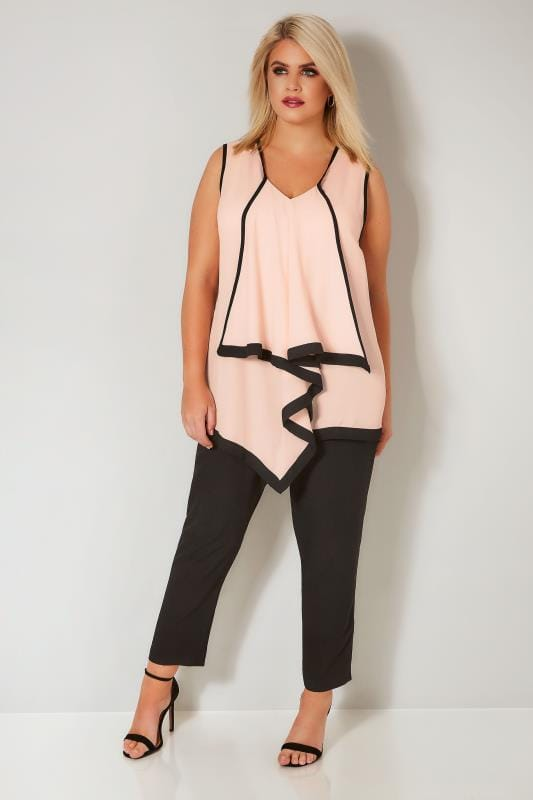 YOURS LONDON Light Pink & Black Asymmetric Ruffled Blouse