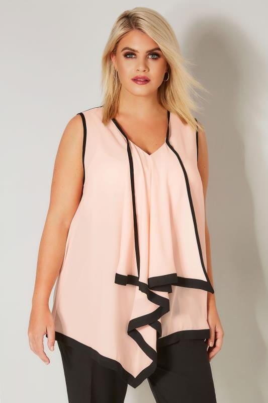Yours London Light Pink  Black Asymmetric Ruffle Blouse -4590