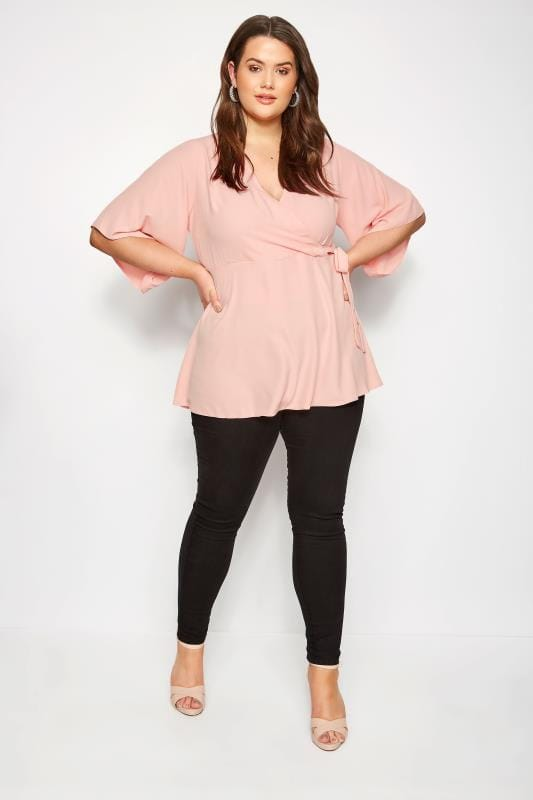 Plus Size Blouses YOURS LONDON Light Pink Wrap Blouse With Kimono Sleeves