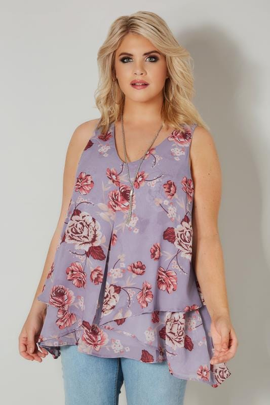 Plus Size Blouses & Shirts YOURS LONDON Lilac Floral Layered Chiffon Top With Free Necklace