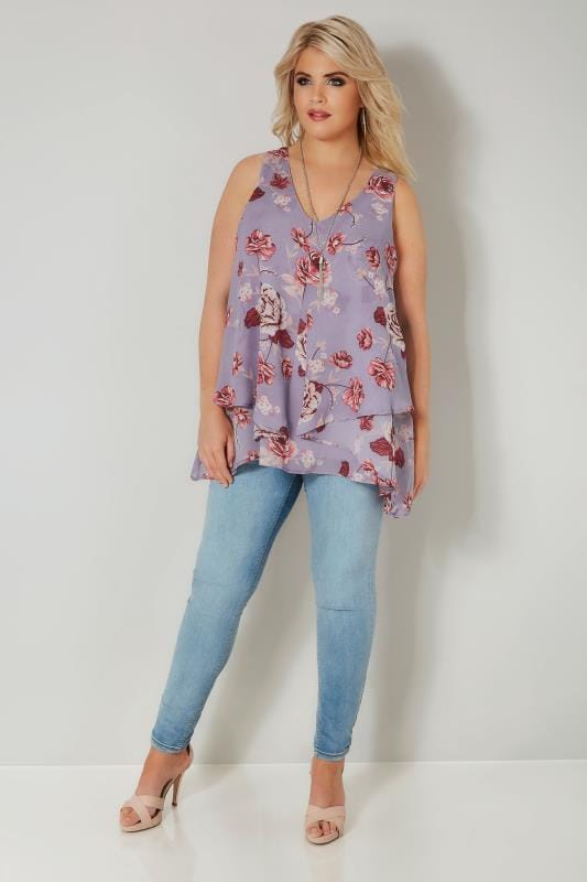YOURS LONDON Lilac Floral Layered Chiffon Top