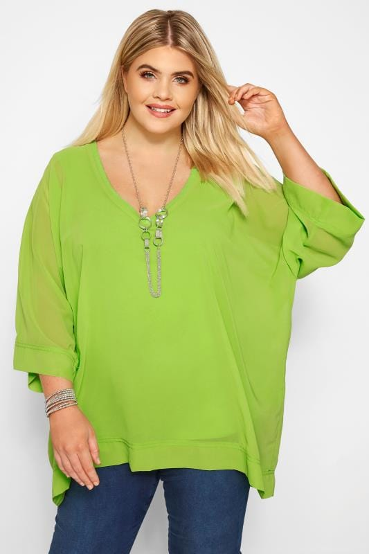 Plus Size Chiffon Blouses YOURS LONDON Lime Chiffon Cape Top