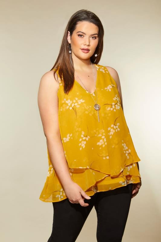 Plus Size Blouses YOURS LONDON Mustard Floral Layered Chiffon Top