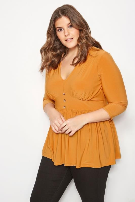 Plus Size Day Tops YOURS LONDON Yellow Peplum Tea Top