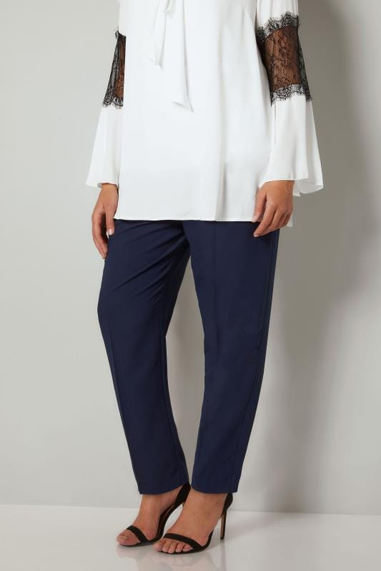 YOURS LONDON Navy Double Pleat Satin Back Crepe Trousers