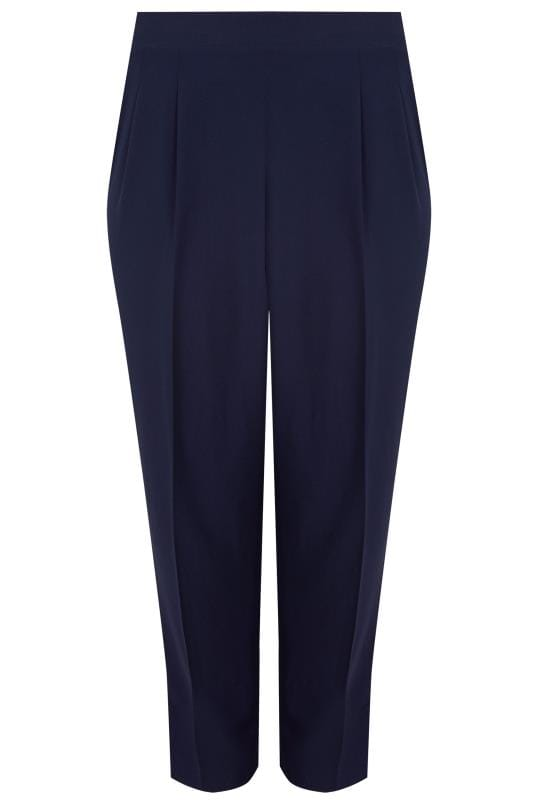 Tapered & Slim Fit Trousers YOURS LONDON Navy Double Pleat Satin Back Crepe Trousers 156310