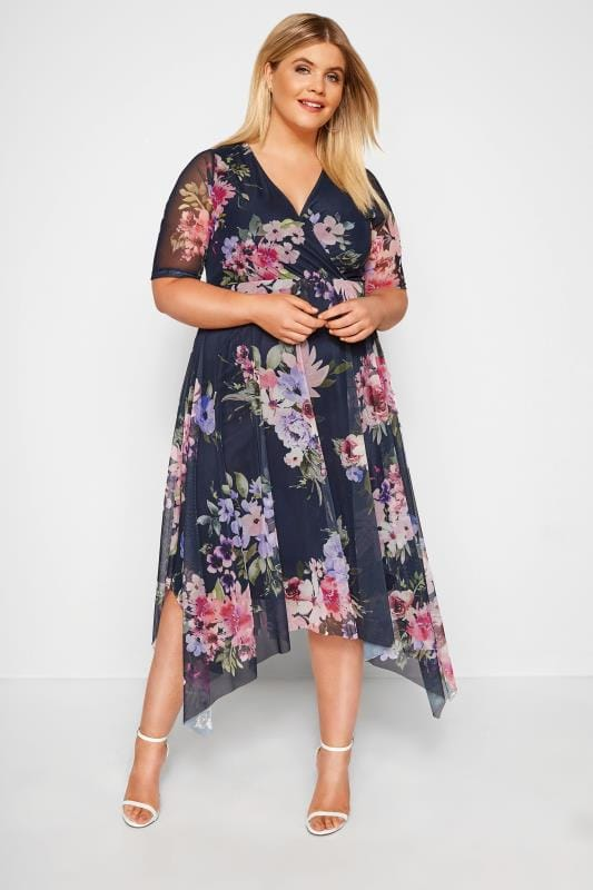 Plus Size Evening Dresses YOURS LONDON Navy Floral Mesh Midi Dress With Hanky Hem