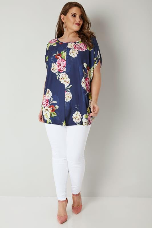 YOURS LONDON Navy Floral Cape Top