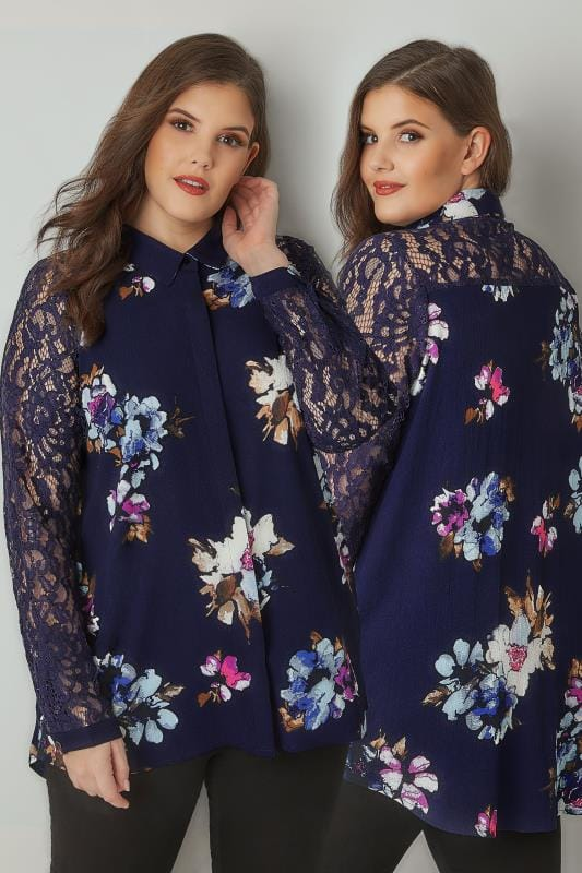 Plus Size Blouses & Shirts YOURS LONDON Navy Floral Print Shirt With Lace Sleeves