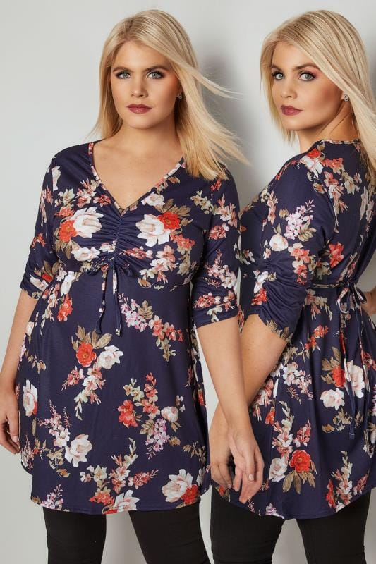 Plus Size Day Tops YOURS LONDON Navy Floral Jersey Top With Ruched Bust