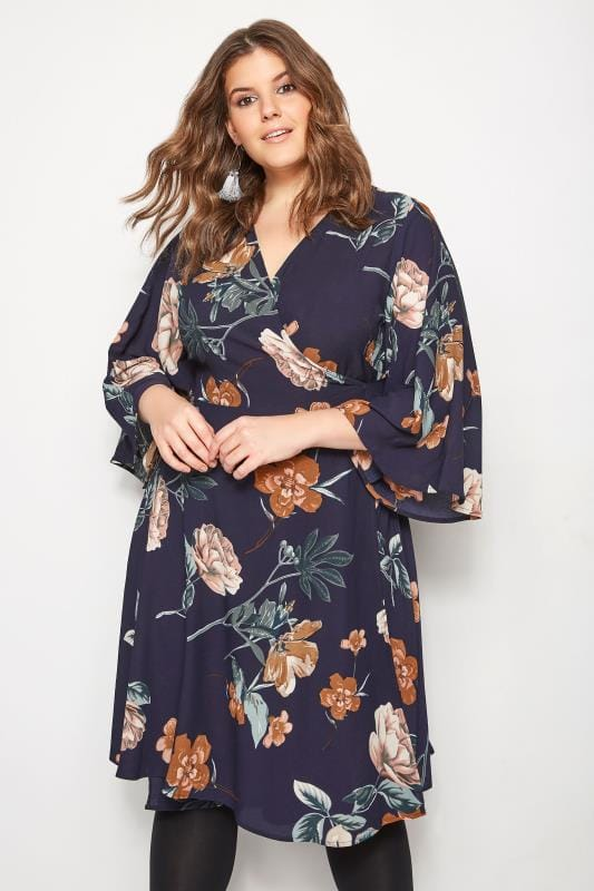 Große Größen Skaterkleider YOURS LONDON Navy Floral Wrap Dress