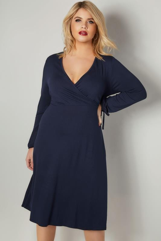YOURS LONDON Navy Jersey Wrap Dress With Long Tie Sleeves