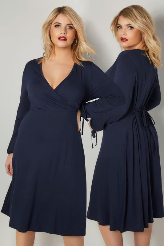 Plus Size Midi Dresses YOURS LONDON Navy Jersey Wrap Dress With Long Tie Sleeves