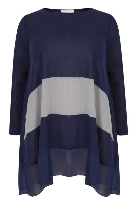 Plus Size Knitted Tops & Jumpers YOURS LONDON Navy Knitted & Chiffon Colour Block Top