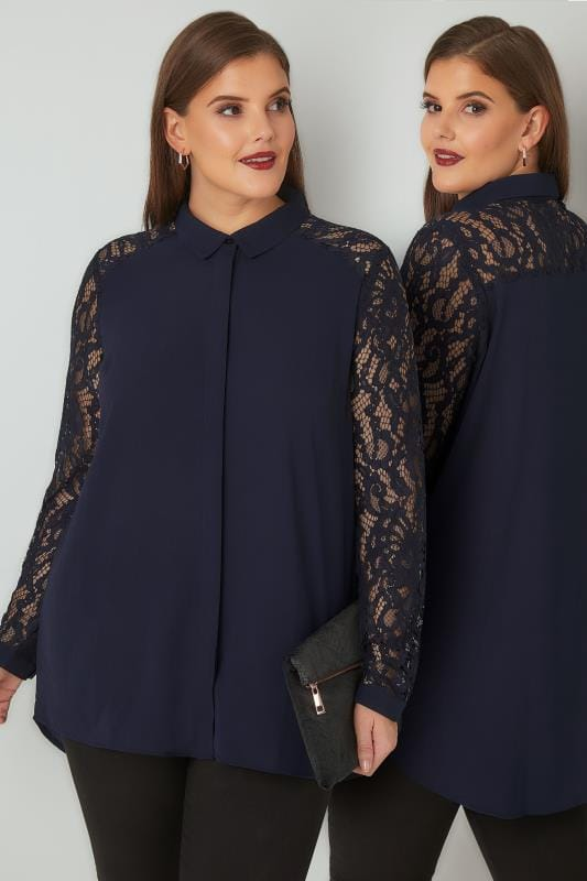 YOURS LONDON Navy Lace Shirt With Curved Hem