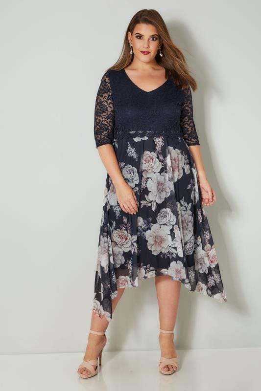 Plus Size Midi Dresses YOURS LONDON Navy & Multi Floral Lace Dress With Hanky Hem