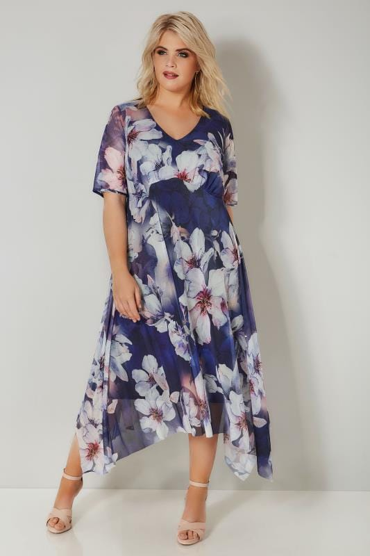 Plus Size Midi Dresses YOURS LONDON Navy Floral Mesh Hanky Hem Midi Tea Dress