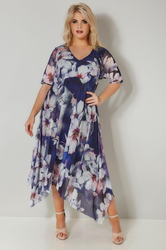 YOURS LONDON Navy Floral Midi Dress