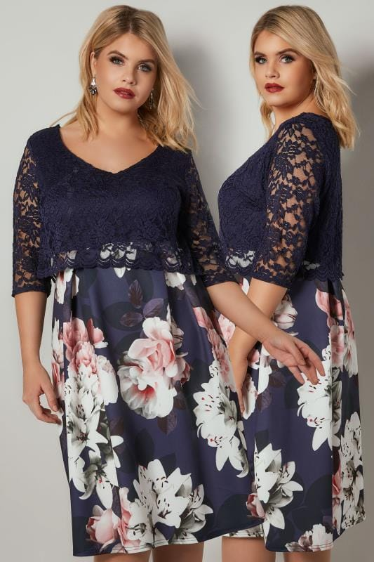 Plus Size Party Dresses YOURS LONDON Navy & Multi Floral Print Lace Overlay Midi Dress