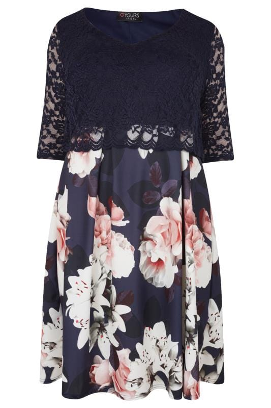 Yours London Navy Amp Multi Floral Print Lace Overlay Midi