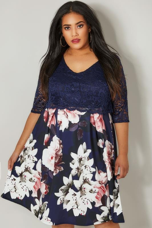 Plus Size Party Dresses YOURS LONDON Navy Floral Midi Dress With Lace Overlay