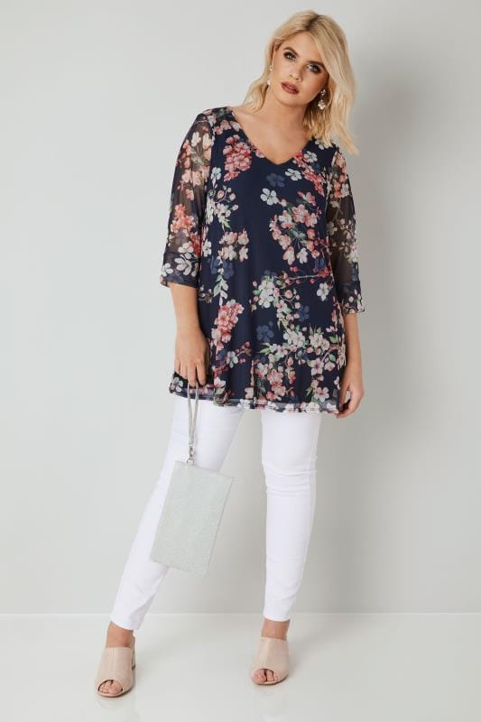 YOURS LONDON Navy & Multi Floral Print Mesh Top