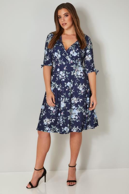 YOURS LONDON Navy Floral Wrap Dress With Tie Sleeves
