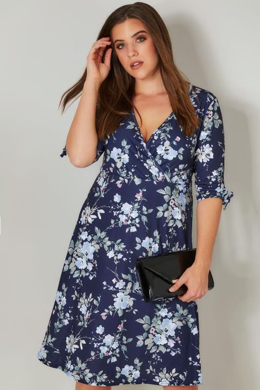 Plus Size Sleeved Dresses YOURS LONDON Navy & Multi Wrap Dress With 3/4 Length Tie Sleeves