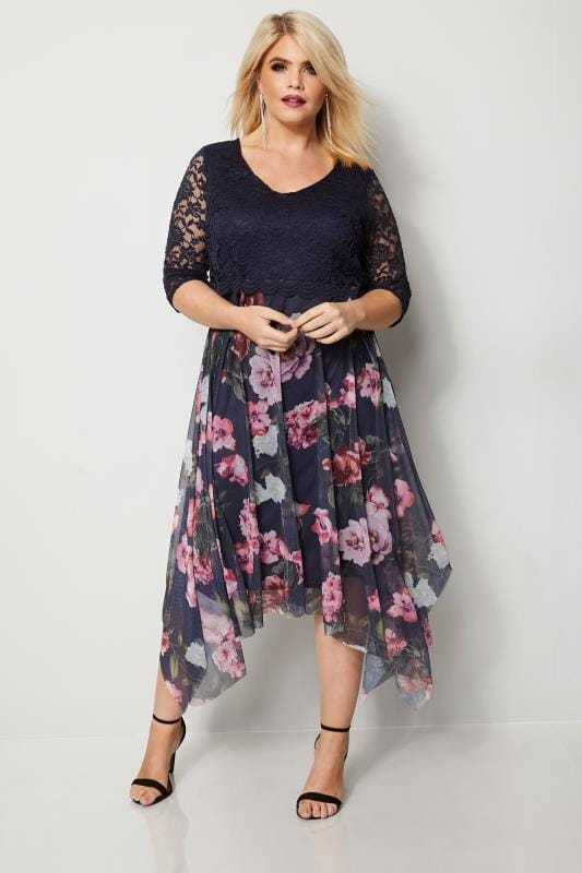 Plus Size Midi Dresses YOURS LONDON Navy & Pink Floral Dress With Lace Overlay