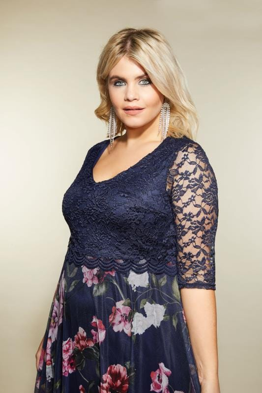 YOURS LONDON Navy & Pink Floral Dress With Lace Overlay