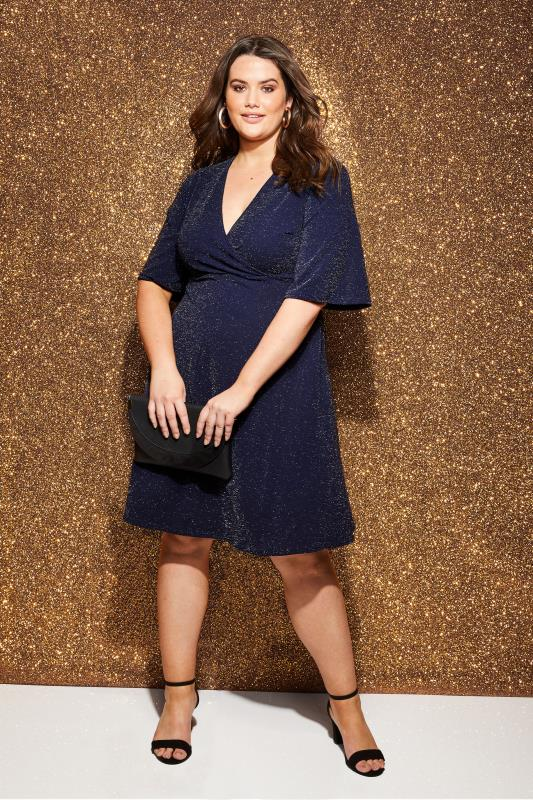 Plus Size Sleeved Dresses YOURS LONDON Navy Sparkle Wrap Dress