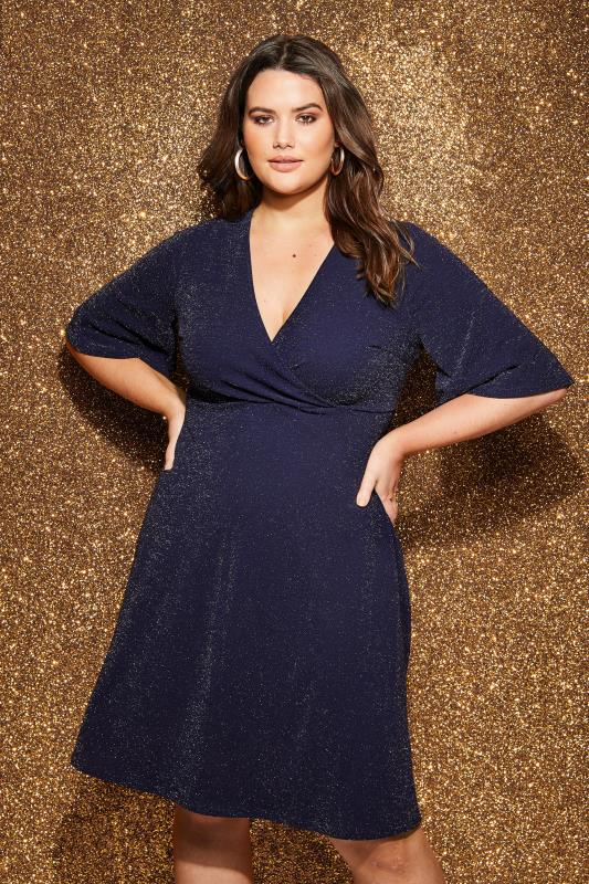 YOURS LONDON Navy Sparkle Wrap Dress