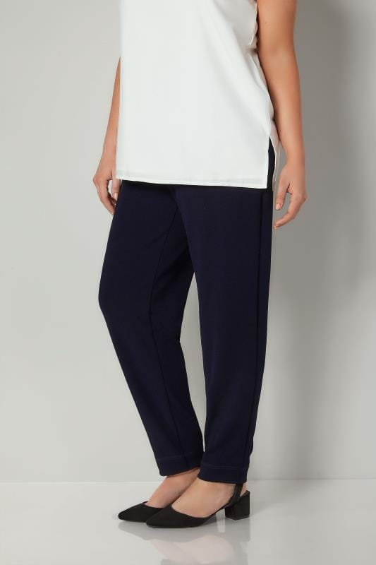 Plus Size Harem Trousers Navy Textured Jersey Harem Trousers With Elasticated Waist