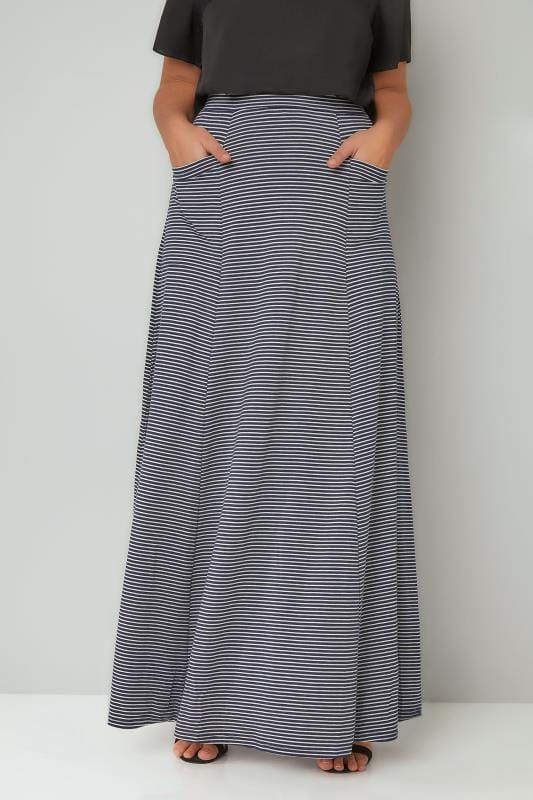 YOURS LONDON Navy & White Stripe Maxi Skirt With Pockets