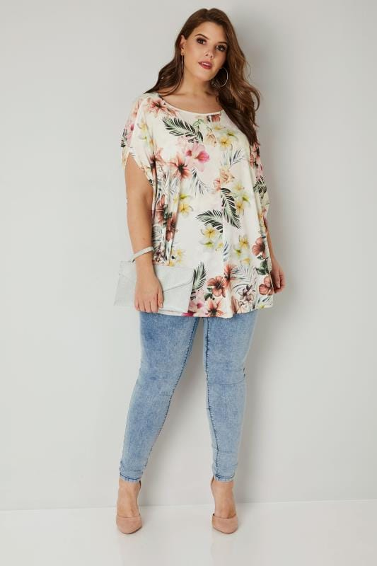 YOURS LONDON Off White Tropical Floral Print Cape Top