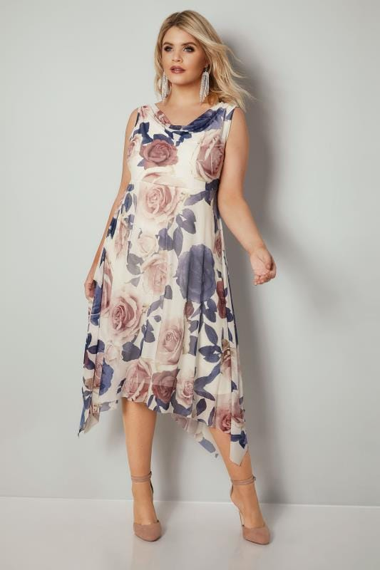 Plus Size Midi Dresses YOURS LONDON Ivory & Multi Floral Print Midi Mesh Dress With Cowl Neck & Hanky Hem