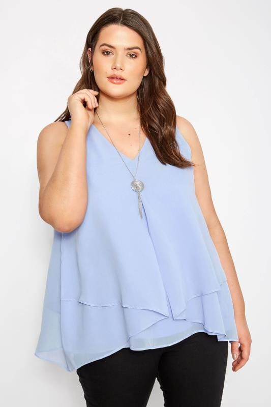 Plus Size Vests & Camis YOURS LONDON Pale Blue Layered Chiffon Top