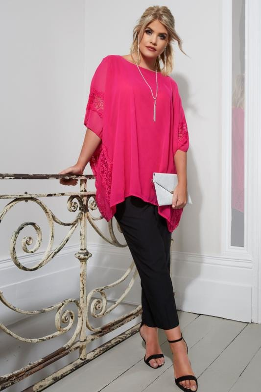 YOURS LONDON Pink Chiffon Lace Top With Free Necklace