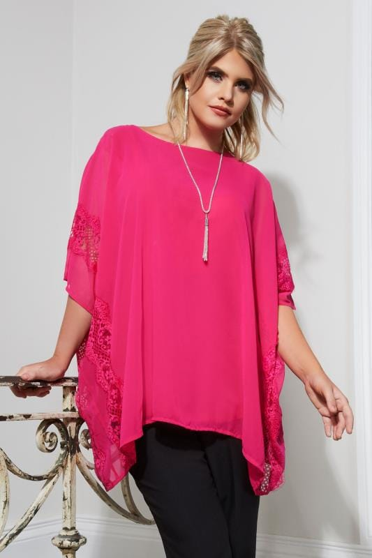 Plus Size Party Tops YOURS LONDON Pink Chiffon Lace Top With Free Necklace