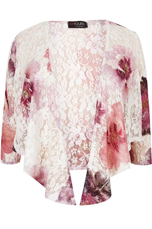 Bolerka YOURS LONDON Pink Floral Lace Tie Shrug 156342