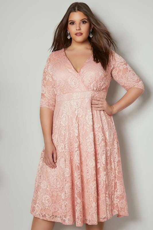 Plus Size Midi Dresses YOURS LONDON Pink Floral Lace Wrap Dress