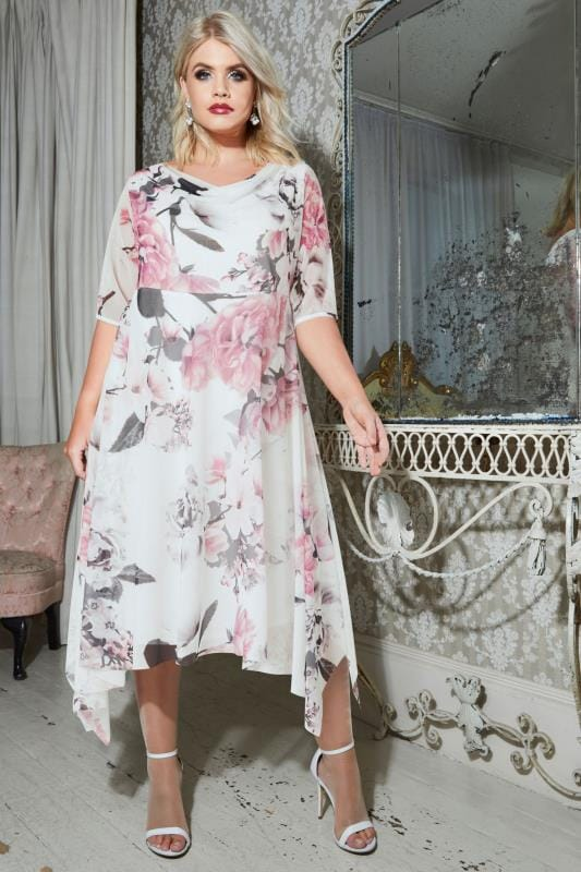 YOURS LONDON White & Pink Floral Midi Dress With Cowl Neck