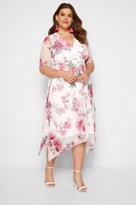 f660f632bc7 YOURS LONDON Pink Floral Mesh Midi Dress With Hanky Hem | Sizes 16 ...