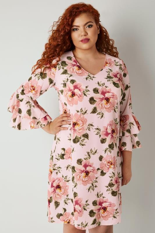 YOURS LONDON Pink Floral Print Dress With Layered Flute Sleeves
