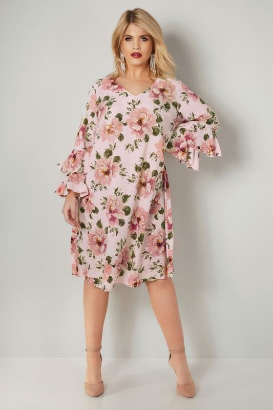 Plus Size Swing Dresses YOURS LONDON Pink Floral Print Dress With Layered Flute Sleeves