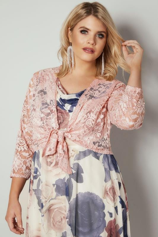 Plus Size Shrugs YOURS LONDON Pink Floral Stretch Lace Shrug